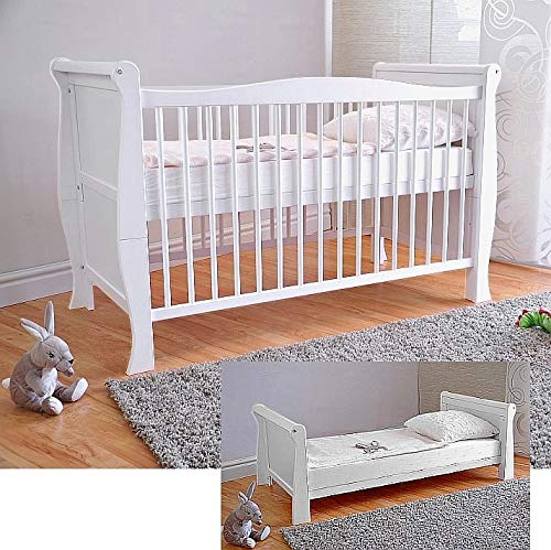 BABY Gitterbett ✔ Babybett ✔ Kinderbett mit Aloe Vera Schaumstoffmatratze ✔ Zahnschienen ✔ höhenverstellbar ✔ Weiß ✔ umbaubar zum Juniorbett