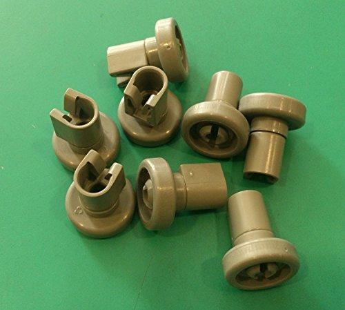 Kit ruote cesto superiore lavastoviglie REX 8 pezzi grigie modello TT80E , TT08E , TT09E , TT8451 ,...