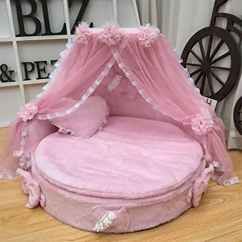 Cama perro Cama de la Princesa del Perro, Camas Grandes Espuma del Gato del Animal doméstico para Interior, Gris, Rosado, púrpura (Color : Pink)