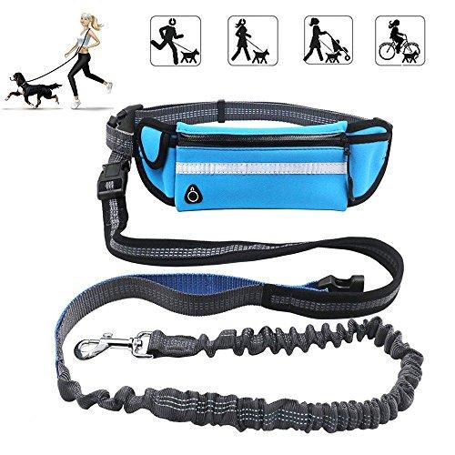 KeepGoo Correa para perros manos libres con riñonera, 1.6M correa para perros con cintura de bolsas múltiples para la cintura paraSenderismo Correr - Ideal para perros medianos a grandes (AZUL)