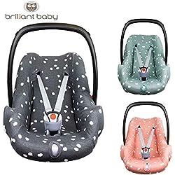 BriljantBaby BabyFit SPOTS Funda universal 100% algodón Interlock Jersey para portabebés, asiento de coche, por ejemplo, Maxi Cosi CabrioFix, Citi, Pebble, etc. Pink Grey