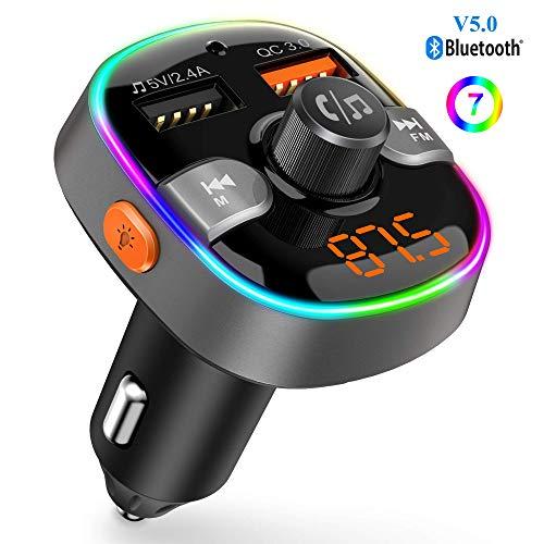Trasmettitore FM Bluetooth 5.0 per Auto con 2 Porta USB (QC 3.0 e 2.4A) Supporta Chiavetta USB e...