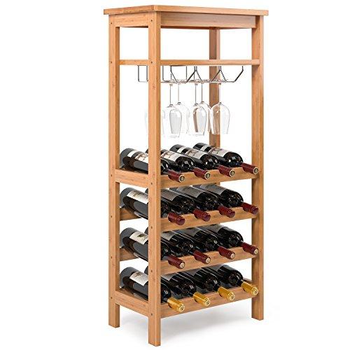Homfa Cantinetta Portabottiglie di Vino in bambù per 4 Ripiani con 16 Bottiglie e 6-9 Bicchieri da...