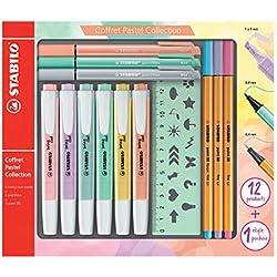 Stabilo f52064Pastel Collection-Coffret combinada (13piezas: 6Swing Cool, 3Point 88, 3pointmax con 1regla plantilla