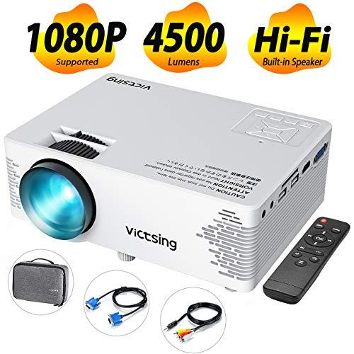 VicTsing Proiettore Portatile 4500 Lumen LED 50000 ore Full HD 1080P Audio Hi-Fi Altoparlante a...