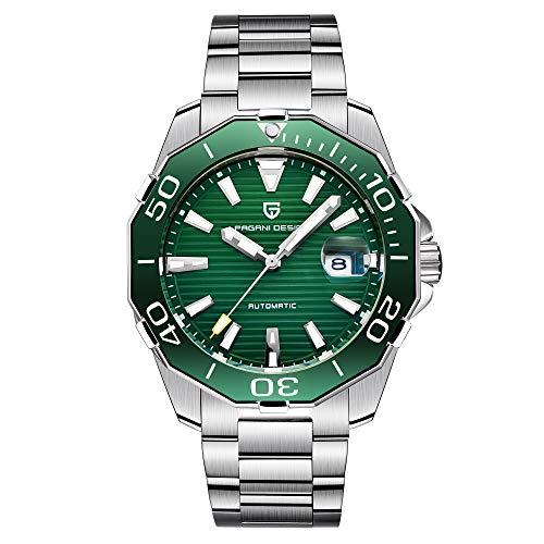 Pagani Design Herren Klassische Taucher-Serie Mechanische Uhren Wasserdicht Edelstahl Marke Armbanduhr Herren - grün ...