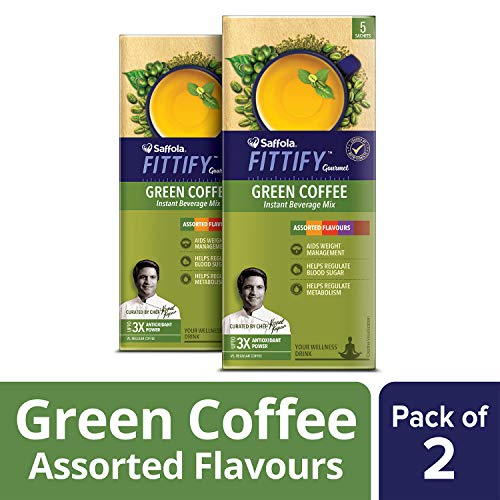 Saffola FITTIFY Gourmet Green Coffee Instant Beverage Mix, Assorted Pack, 2 X 10 g 5