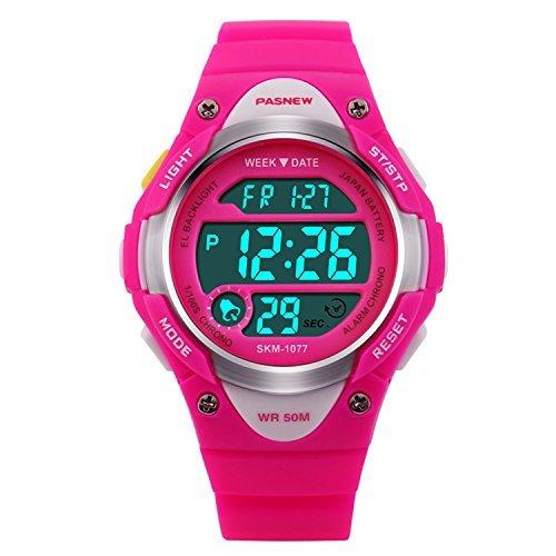 Hiwatch Orologio Bambino Sportivo 164 Piedi Impermeabile Orologio Digitale a LED Rosa