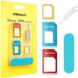 Helect Adaptador de Tarjeta SIM, 5-en-1 Nano para Adaptador de Tarjeta SIM Nano y Micro SIM Kit de Tarjeta Convertidor con Herramientas Polaco Chip y Expulsar Aguja