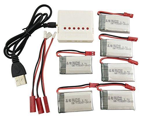Fytoo 6PCS Batterie Lipo Ricaricabili (3,7V 750mAh Lipo) + Caricatore 6in1 per Rc Droni...