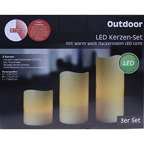 """LED Kerzen-Set \""""Outdoor\"""", 3-teilig, mit Timer"""