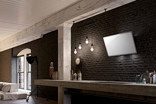 FABER Cappa a parete GLAM-LIGHT finitura vetro bianco e trasparente da 80cm