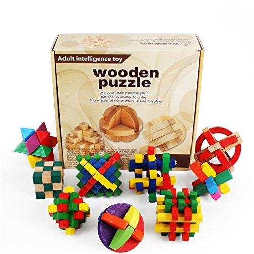 Gracelaza 9 Pezzi Rompicapo Puzzle Giocattoli di Legno - 3D Puzzle di Legno - Gioco di puzzle di...