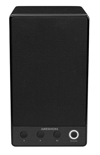 MEDION P61084 WLAN Multiroom Lautsprecher (Party Modus, Spotify Connect, DLNA, USB, Aux-in, Steuerung über App, 18 Watt, Push to Connect) Schwarz