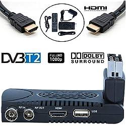Tempo 1000 Decodificador TDT Terrestre - Digital TV HD Euroconector Sintonizador Receptor DVB T2 Tuner Full HD / HDTV / 1080P / H.264 / MPEG / USB / Multimedia