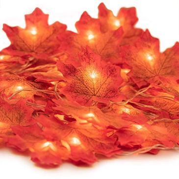 Guirlande lumineuse LED en forme de feuille d'érable 20 LED pour Noël, Halloween, Thanksgiving, Thanksgiving, à piles (3 m, 20 LED)