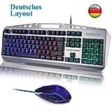FLAGPOWER Gaming Tastatur und Maus Set, USB Beleuchtete Gaming Tastatur mit Maus Wasserdicht Multimedia LED Hintergrundbeleuchtung PC Tastatur 6 Farben Beleuchtung (QWERTZ, Deutsches Layout)