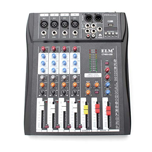 KKY Ct-40S 4 Channel Professional Live Studio Audio Mixer with 48V Phantom Mixing