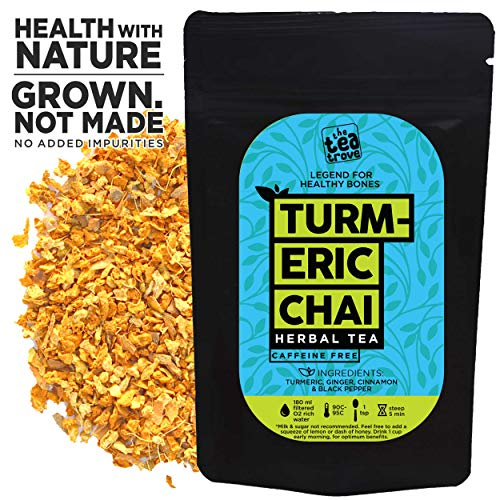 The Tea Trove - Herbal Turmeric Tea Chai | Golden Milk Tea | Superfood Blend of Natural Turmeric, Cinnamon, Ginger, Black Pepper for Sleep, Overnight Detox and Joint Support | (50gm, 25 Cups)