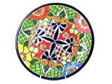 Mittelteller, Speisenteller, Menüteller, mittelgroß, handbemalt, hellgrün - mexikanische Handwerkskunst