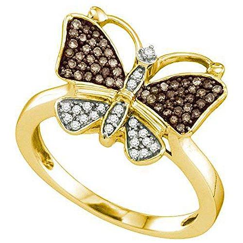 0,22quilates (de quilate) 10K oro amarillo marrón y blanco diamante-anillo de mariposa cóctel mano derecha 1/4CT