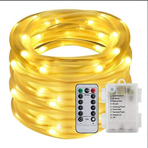 TASLAR LED Light With Remote Control & Timer 3AA Cell Battery Powered Lights, 10M 100 LED Waterproof Indoor Outdoor Rope String for Christmas Tree, Wedding, Diwali, Dussehra, Home Decor, Parties, Bedroom (Warm White)