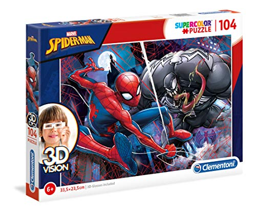 Clementoni - 20148 - 3D Vision Puzzle - Spiderman - 104 Pezzi