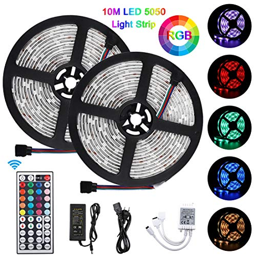 Bonve Pet 10M Striscia LED 5050 RGB, TV Retroilluminazione LED Striscia, Nastri LED con 300 LED, Impermeabile IP65, Alimentatore 3A, Telecomando a 24 Tasti, Recettore