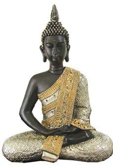 Figura de buda iluminado de resina en color oro y plata | Tamaño: 29x13x38 cm | Portes gratis