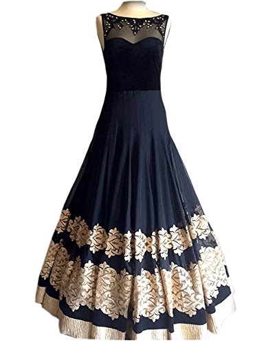 Royal Export Women's Georgette Gown (Royal Gown Black _Black _Free Size)