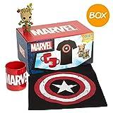 WOOTBOX - Boîte Cadeau - Mixte - Marvel - T-Shirt Iron Man - Figurine Pop Groot - Taille M