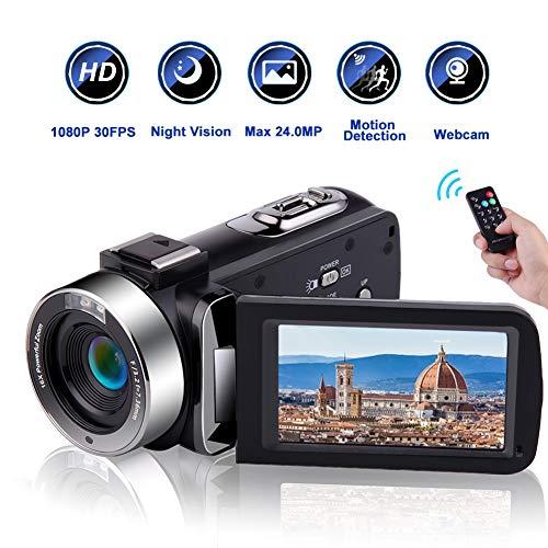 Videocamere Videocamera Full HD 1080P 30 FPS IR Night Vision Videocamera da 20 pollici IPS Schermo...