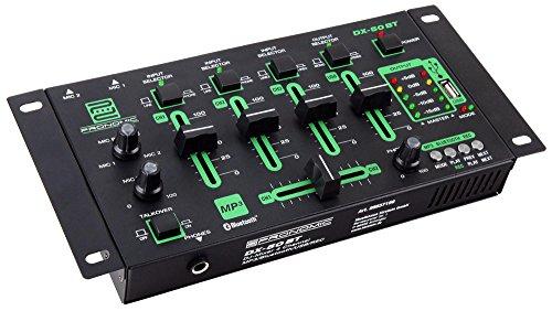 Pronomic DX-50 4-Kanal USB DJ-Mixer (eingebauter USB-MP3-Player, Bluetooth-Schnittstelle, USB-Aufnahme Funktion, 4-Kanäle, Mikrofonanschluss, robust, mit Cinch-Kabel)