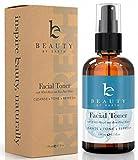 Tonico Facial – 100% orgánico y natural con agua de rosas, hamamelis, aloe vera y pepino – ayuda a reducir la hinchazón, la inflamación, el enrojecimiento y el tamaño de los poros- sin alcohol