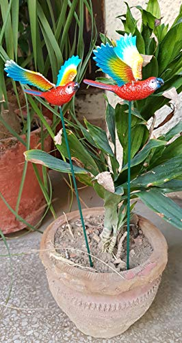 Wonderland Set of 2 : Flying Parrot garden stake / garden stick for balcony decoration, garden decor, home decoration, garden accessories, garden stakes for plant, garden stick plastic, diwali decor, diwali gift item, diwali decoration, diwali decorations items for home, dipawali special