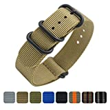 Cinturino Orologio 20mm 22mm Premium Ballistic Cinturino Nylon Militare Cinturino Nato 5 Anello Nero Zulu Cinturino con Bar Primavera Link Pin Remover Strumento (20mm, Khaki)