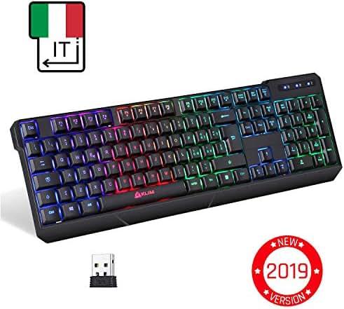 KLIM™ Chroma Tastatur Gamer Italienisch Wireless – Hohe Leistung – Bunte Beleuchtung - Schwarz - RGB PC Windows Mac PS4
