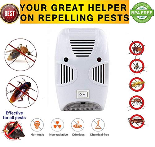 ZIZLY Ultrasonic Pest Repeller Repellent, Home Pest Control Reject Device for Bed Bugs, Rats, Roaches, Rodent, Mouse, Human, Pet Safe Latest Upgrade Devices for Eco Friendly