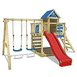 WICKEY Spielturm Smart Cave Kletterturm Spielhaus Rot auf Podest mit Schaukel und Rutsche, großem Sandkasten, Kletterwand und Kletterleiter ...