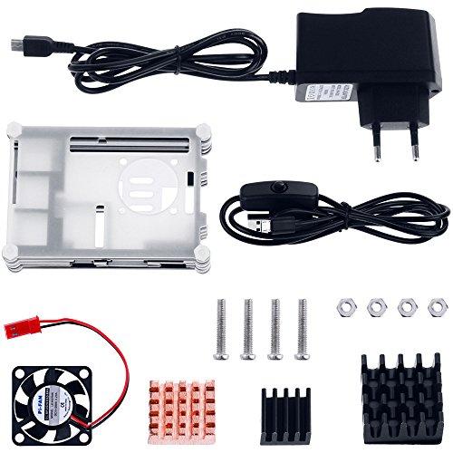 51sHYsFhhEL - Zacro 5-EN-1 Kit para Raspberry Pi 3 y 2, Caja de 9 Capas de Refrigeración + Mini Fan con 4 Tornillos+ USB Cable Encendido + 3 Disipador de Calor + USB Cable Cargador