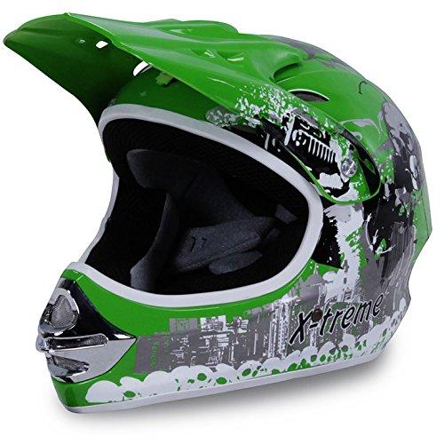 #Motorradhelm Kinder Cross Helme Sturzhelm Schutzhelm Helm für Motorrad Kinderquad und Crossbike Modell Design 2015 in grün (Medium)#