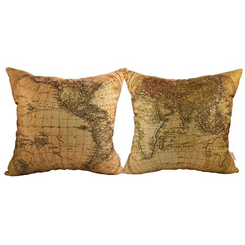 Luxbon, set di 2 federe per cuscini da divano, 45 x 45 cm, in cotone e lino, motivo: mappa dell'emisfero occidentale e orientale, decorazione casa