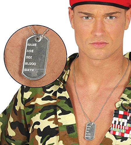 Guirca grafoplas Collar con Placa Militar Barril, Color Plata, 1
