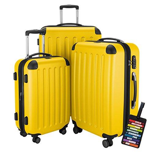 HAUPTSTADTKOFFER® Hartschalen Koffer SPREE 1203 · NEU 4 Doppel-Rollen · MATT · TSA Zahlenschloss · + KOFFERANHÄNGER (Gelb, Set)