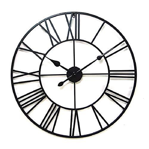 Orologio da Parete Grande Orologio da Muro Vintage Orologio da Parete Silenzioso Metallo Orologio da Muro Design Moderno Orologio da Parete Shabby (Nero),100x100cm