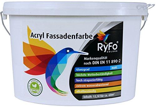RyFo Colors Acryl Fassadenfarbe 12,5l (Größe wählbar) - weiße Außen-Farbe-Dispersion, Reinacrylat Basis, wasserabweisend, hohe Deckkraft, höchster Wetterschutz, lösemittelfrei