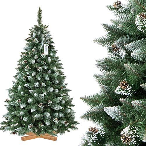 FairyTrees Albero di Natale Artificiale Pino, innevato Bianco Naturale, Materiale PVC, Vere pigne, incl. Supporto in Legno, 180cm