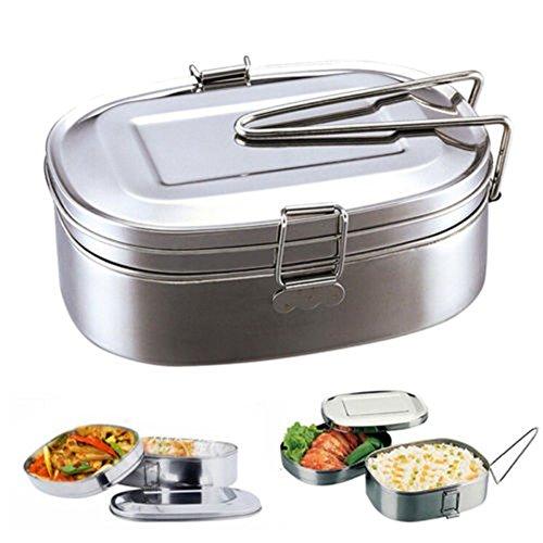 Contenitore portapranzo in acciaio inox, a doppio strato, senza BPA, contenitore per alimenti,...