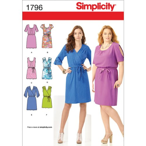 Simplicity Pattern 1796 Misses Pullover Dress in 2 Lengths with Bodice Variations and Belts Sizes 10-12-14-16-18