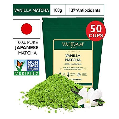 VAHDAM, Vanilla Matcha Grüner Tee   100{7724f43e5ad507097b851ca713534f8eeb83e813c3cedb5c05dcb7c540d0f35a} REINER japanischer Herkunfts-Matcha-Teepulver   137x ANTI-OXIDANTEN   Grüner Tee zur Gewichtsreduktion und zur täglichen Entgiftung   Japans SUPER FOOD